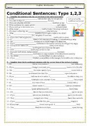 English Worksheet: Conditional sentences (Type 1,2,3) (With KEY)