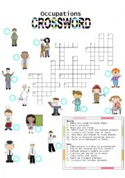 English Worksheet: Occupations CROSSWORD (1)