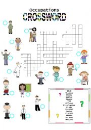 English Worksheet: Occupations CROSSWORD (2)