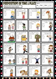 PREPOSITIONS OF TIME AND PLACE - IN, ON & AT - MULTIPLE CHOICE