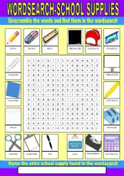 English Worksheet: School Wordsearch