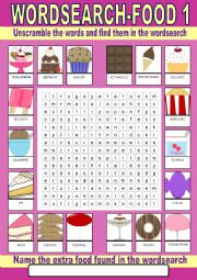 Food (desserts) Wordsearch