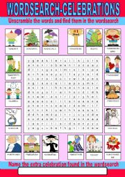 English Worksheet: Celebrations Wordsearch