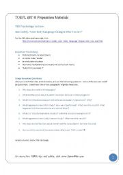 English Worksheet: TOEFL Listening: Comprehension Questions for a TED lecture on human psychology