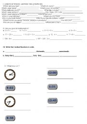 English Worksheet: Question Words - Numbers - Time