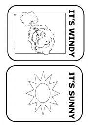 English Worksheet: Weather flashcards (Black and White)