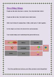 English Worksheet: Describing things