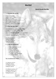 English Worksheet: She wolf - David Guetta feat. Sia