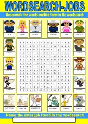 English Worksheet: Occupations Wordsearch