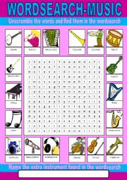 English Worksheet: Music Wordsearch