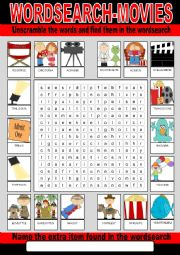 English Worksheet: Movie Wordsearch