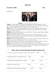 English Worksheet: Fully editable test on the American series FRIENDS