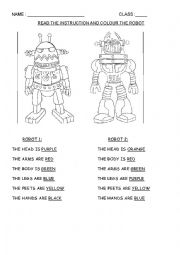 English Worksheet: Colour the robot
