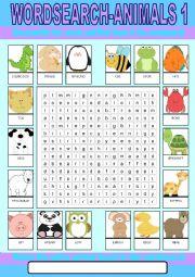 English Worksheet: Animals 1 Wordsearch