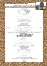 English Worksheet: Taylor Swift - I Knew You Were Trouble