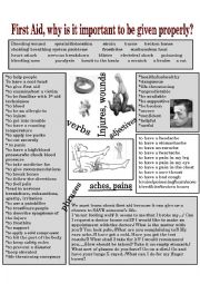First aid, expressions for language developing activities.