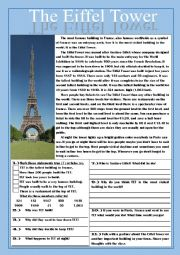 the eiffel tower reading comprehension practice exercises. Black Bedroom Furniture Sets. Home Design Ideas