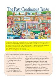 English worksheet: The past continuous tense with a busy street scene.