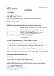 English Worksheet: Transport . Module 4 . Lesson 4 . 9th grade