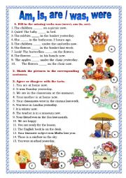 English Worksheet: Am, is, are / was, were