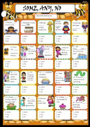 English Worksheet: Some, any and no