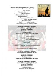English Worksheet: WE ARE THE CHAMPIONS