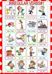 English Worksheet: Irregular Verbs Picture Dictionary#1