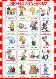 English Worksheet: Irregular Verbs Picture Dictionary#2