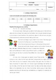 English Worksheet: Test - 7th form- Daily Routine