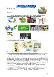English Worksheet: How can we make everyday an earth day?