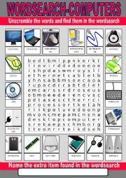 English Worksheet: Computer Wordsearch