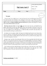English Worksheet: 2nd full-term test first form