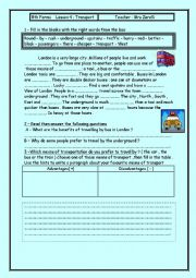 English worksheet: lesson 2 transport ( 8th forms / tunisian students )