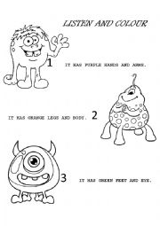 English Worksheet: Colour the aliens