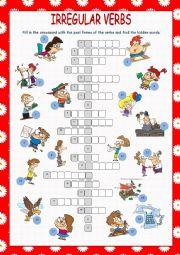 English Worksheet: Irregular Verbs Crossword Puzzle