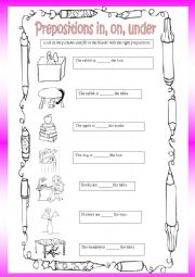 English Worksheet: Prepositions in - on - under