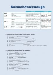 English Worksheet: So/such/too/enough
