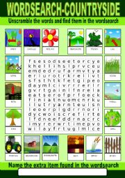 English Worksheet: Countryside Wordsearch