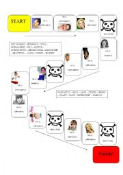 English Worksheet: Adjectives board game