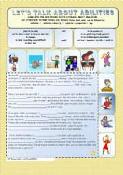 English Worksheet: Let�s talk about abilities