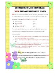 English Worksheet: COMMON ENGLISH MISTAKES - NICE, THE OVERWORKED WORD (PART 1)