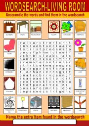 English Worksheet: Living Room Wordsearch
