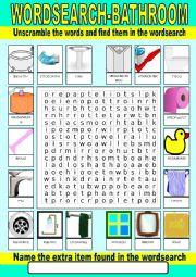 English Worksheet: Bathroom Wordsearch