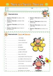 English Worksheet: There is / are
