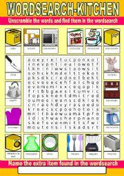 English Worksheet: Kitchen Wordsearch