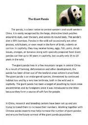 English Worksheet: The Giant Panda