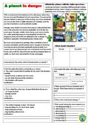 English Worksheet: our earth is in danger