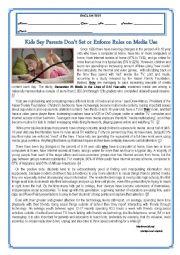 English Worksheet: TEST- KIDS SAY PARENTS DON�T SET OR ENFORCE RULES ON MEDIA USE- VERSION A