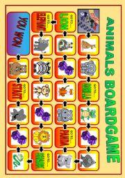 English Worksheet: BEGINNERS ANIMALS BOARD GAME