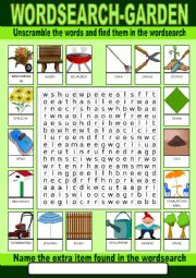 English Worksheet: Garden Wordsearch